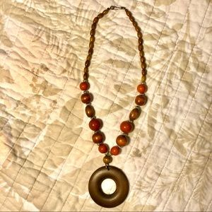 Boho brown and orange wooden beaded necklace